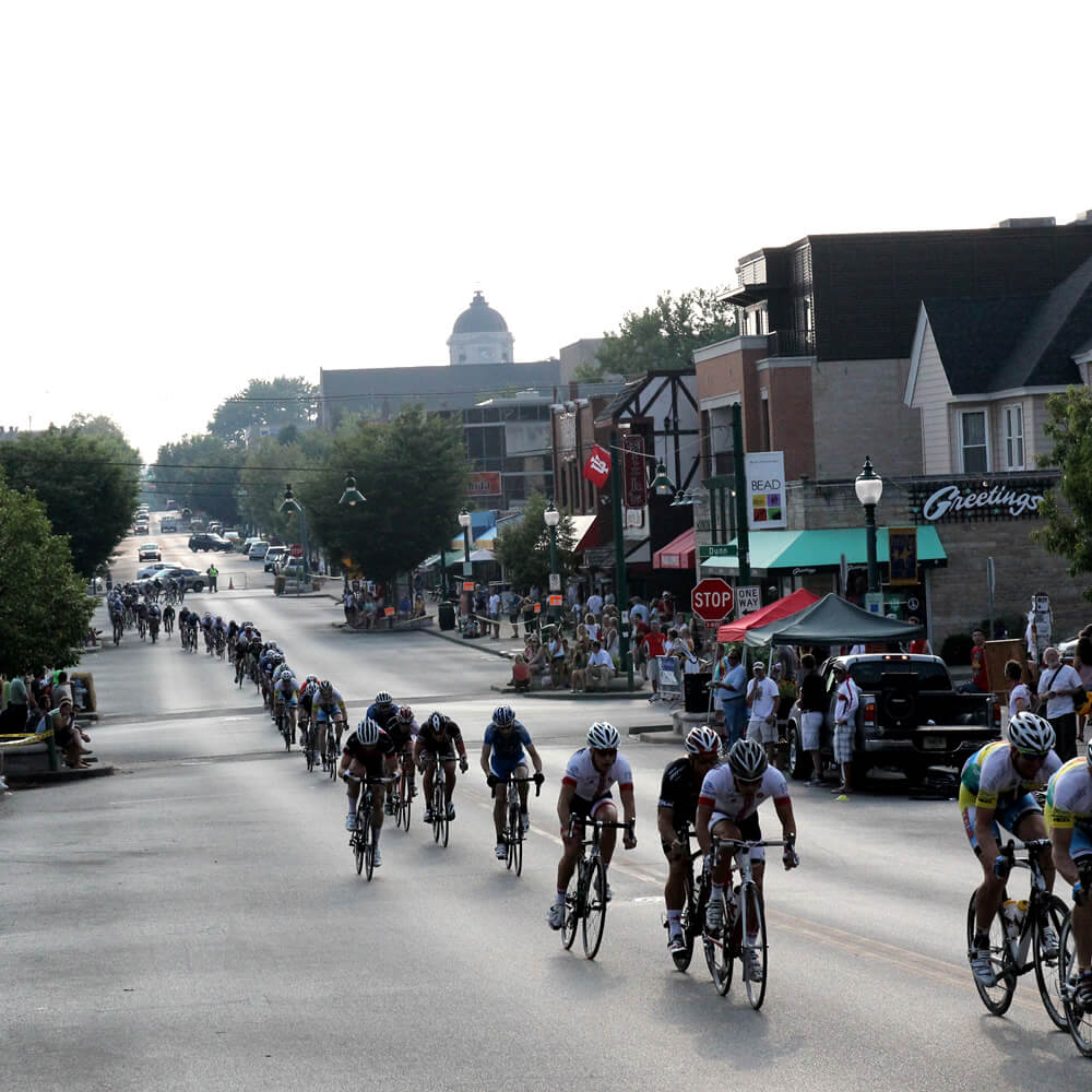 Bicycle race through downtown Bloomington